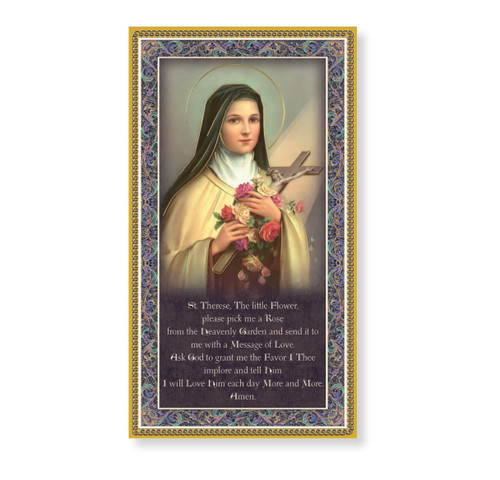 St. Therese the Little Flower Gold Foil Wood Plaque