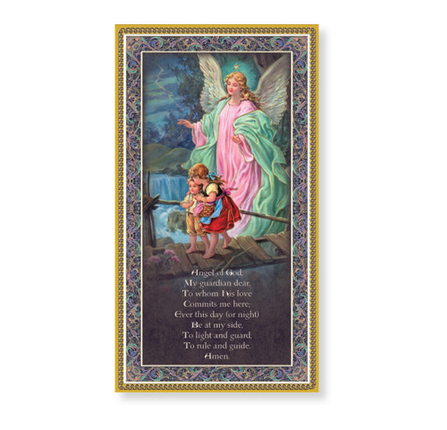 Guardian Angel Gold Foil Wood Plaque