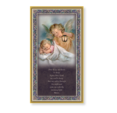 Guardian Angel with a Lantern Gold Foil Wood Plaque