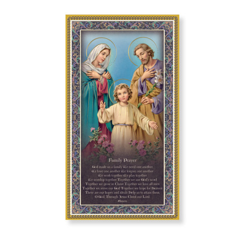 Holy Family Gold Foil Wood Plaque