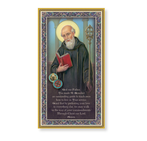 St. Benedict Gold Foil Wood Plaque
