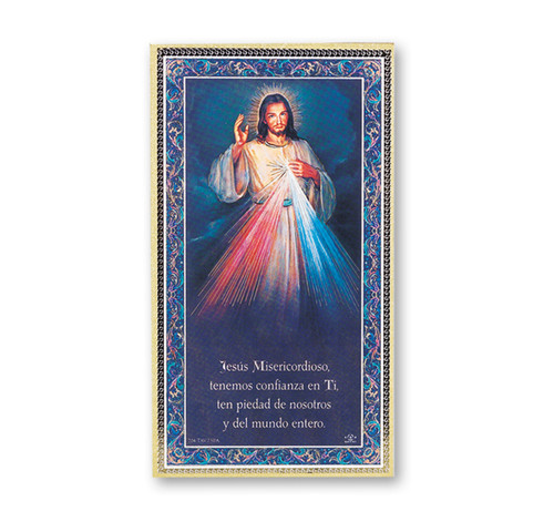 Divine Mercy (Spanish) Gold Foil Wood Plaque
