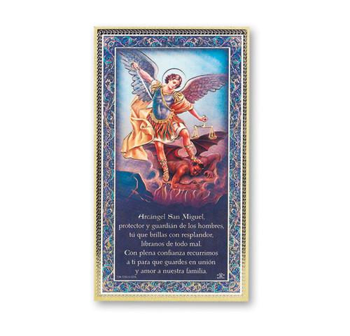 St. Michael (Spanish) Gold Foil Wood Plaque