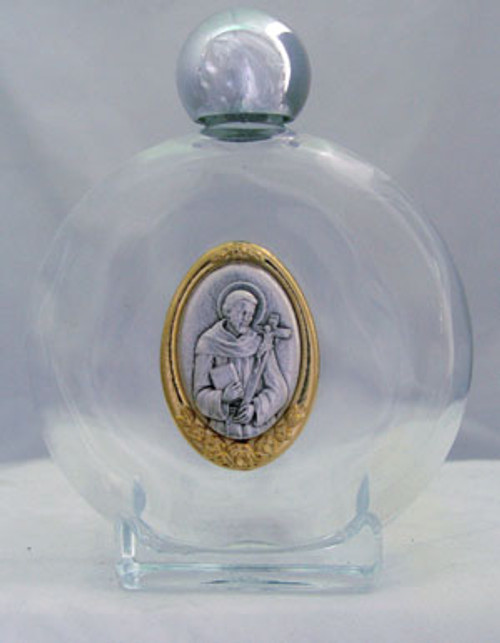 8oz. St. Francis Glass Holy Water Bottle | Made In Italy