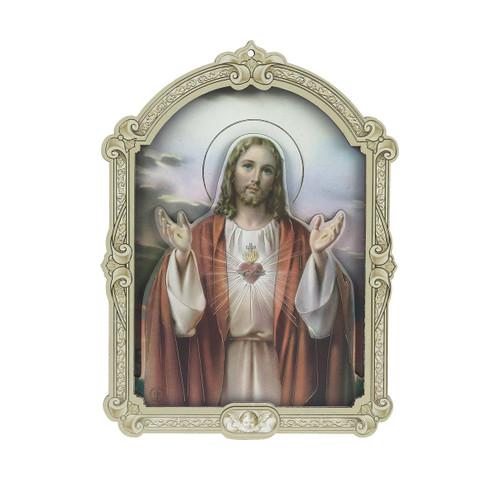 "Sacred Heart of Jesus Wood 3D Plaque | 5"""