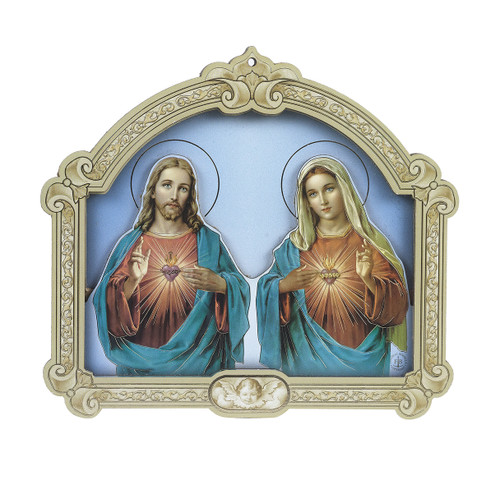 Sacred Heart of Jesus and Immacualte Heart of Mary Wood 3D Plaque | 5""
