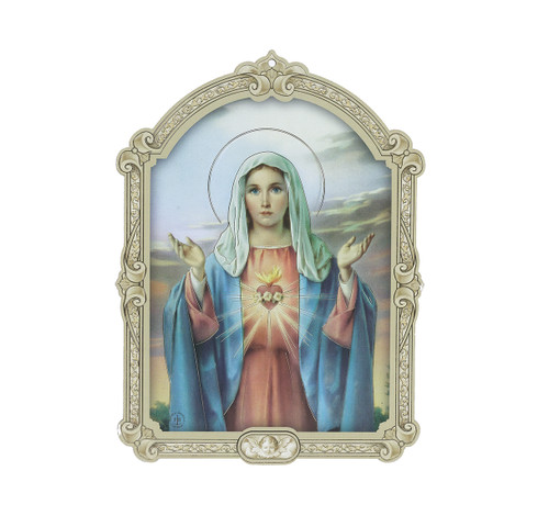 Immaculate Heart of Mary Wood 3D Plaque | 5""