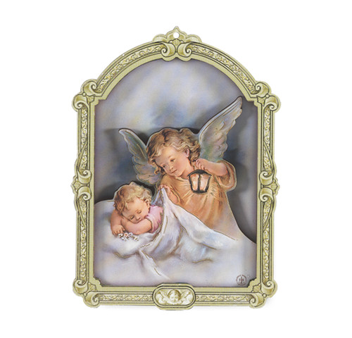Guardian Angel with Lantern Wood 3D Plaque | 5""