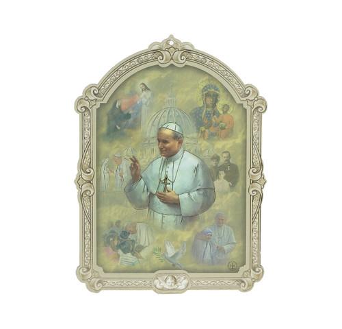 "St. John Paul II Wood 3D Plaque | 5"""