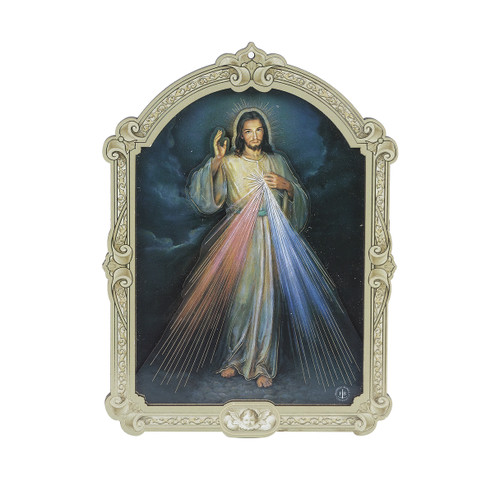 "Divine Mercy Wood 3D Plaque | 9"""