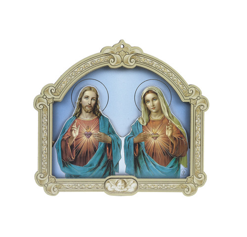 Sacred Heart of Jesus and Immaculate Heart of Mary Wood 3D Plaque | 9""
