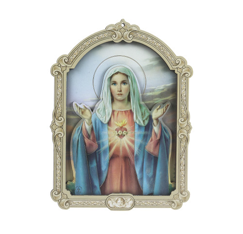 Immaculate Heart of Mary Wood 3D Plaque | 9""