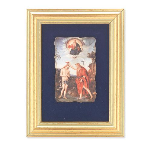 Baptism of Jesus Gold Framed Italian Fresco   Blue Velvet Lining