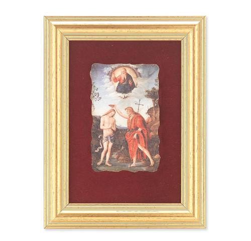 Baptism of Jesus Gold Framed Italian Fresco   Red Velvet Lining