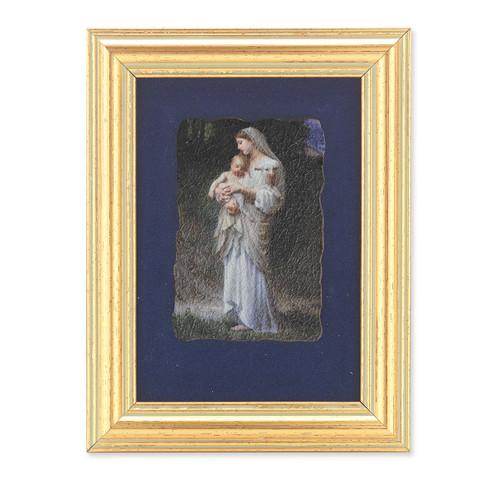 Divine Innocence Gold Framed Italian Fresco   Blue Velvet Lining