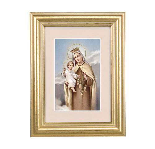 Our Lady of Mount Carmel Gold Framed Art | Beige Velvet Matting