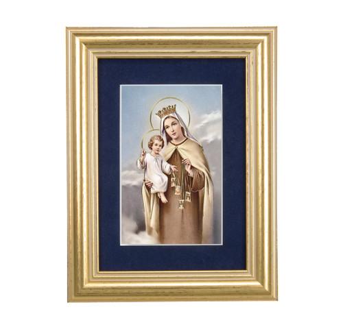 Our Lady of Mount Carmel Gold Framed Art | Blue Velvet Matting
