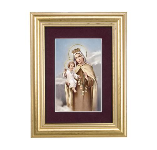 Our Lady of Mount Carmel Gold Framed Art | Maroon Velvet Matting