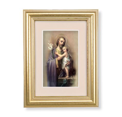 St. Joseph Gold Framed Art | Beige Velvet Matting
