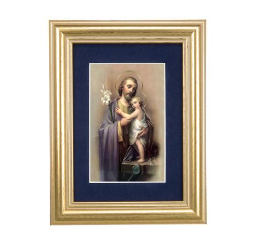 St. Joseph Gold Framed Art | Blue Velvet Matting