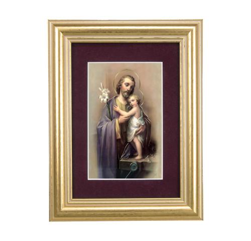 St. Joseph Gold Framed Art | Maroon Velvet Matting
