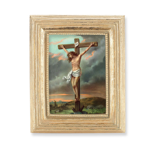 Crucifixion Square Framed Print | Gold Frame