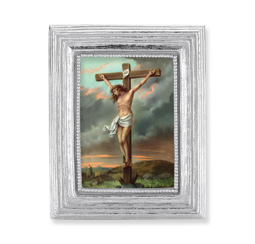 Crucifixion Square Framed Print | Silver Frame
