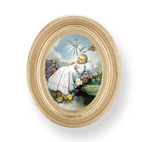 Baptism Oval Framed Print   Gold Frame