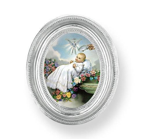Baptism Oval Framed Print   Silver Frame