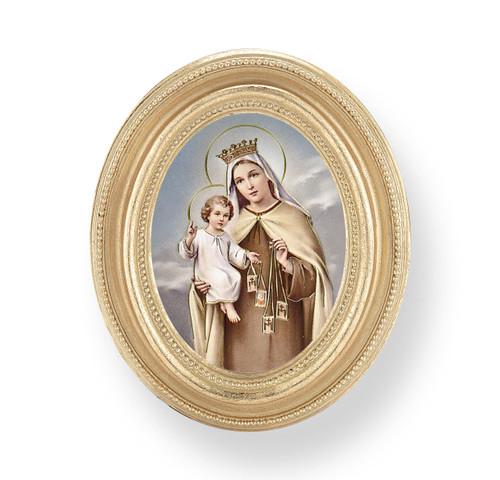 Our Lady of Mount Carmel Oval Framed Print | Gold Frame