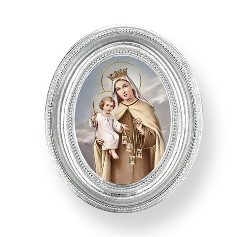 Our Lady of Mount Carmel Oval Framed Print | Silver Frame