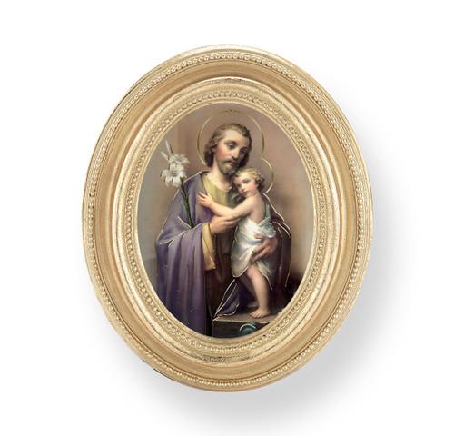 St. Joseph Oval Framed Print | Gold Frame