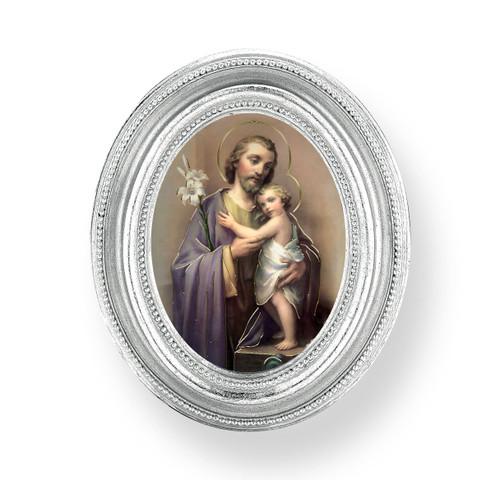 St. Joseph Oval Framed Print | Silver Frame