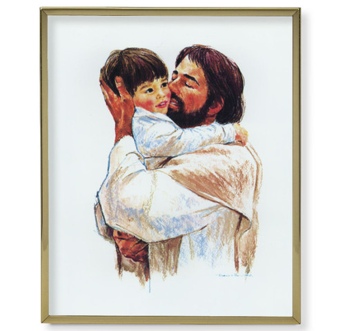 "Christ with Child - Love Gold Framed Art | 11"" x 14"""