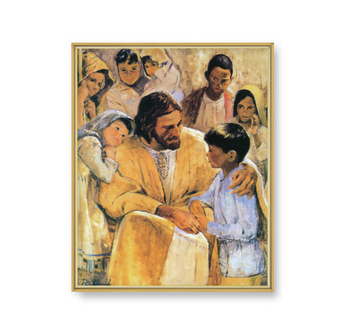 "Christ with Children Gold Framed Art | 11"" x 14"""