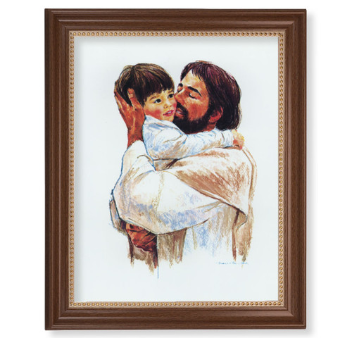 "Christ with Child - Love Dark Walnut Framed Art | 11"" x 14"""