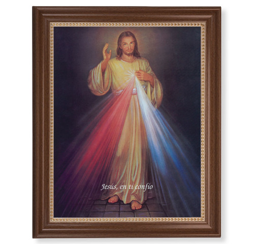 "Divine Mercy (Spanish)  Dark Walnut Framed Art | 11"" x 14"""