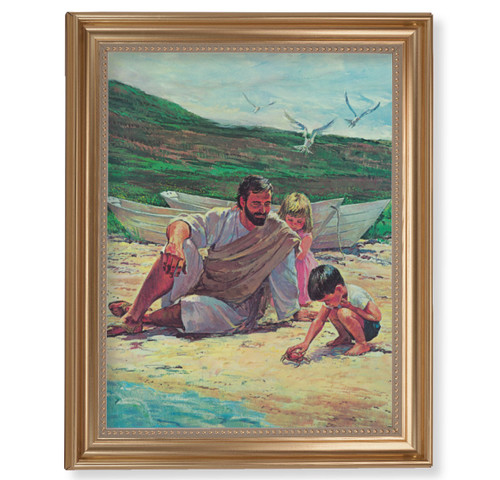 "Beach with Children Gold Framed Art | 11"" x 14"""