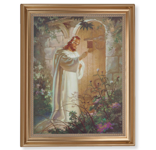 "Christ Knocking Classic Gold Framed Art | 11"" x 14"""