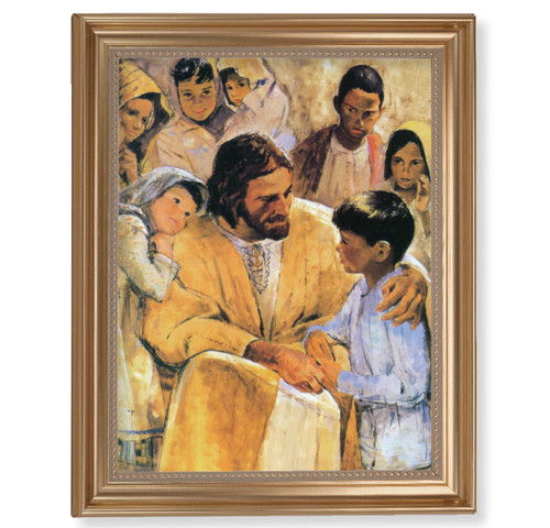 "Christ with Children Classic Gold Framed Art | 11"" x 14"""