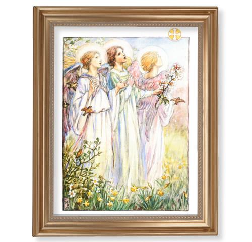 "Three Angels Classic Gold Framed Art | 11"" x 14"""