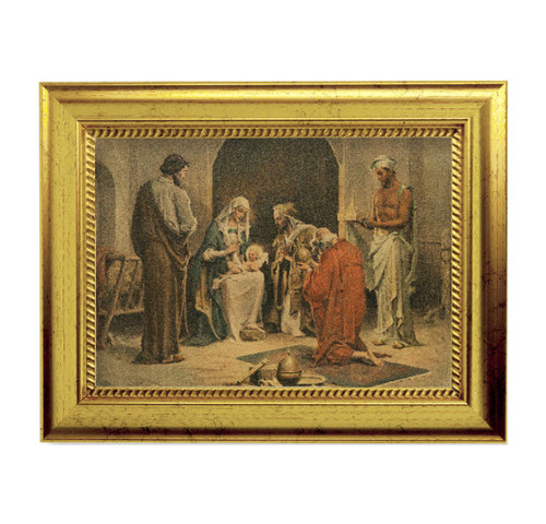 "Adoration of the Magi Gold-Leaf Framed Art | 5"" x 7"""