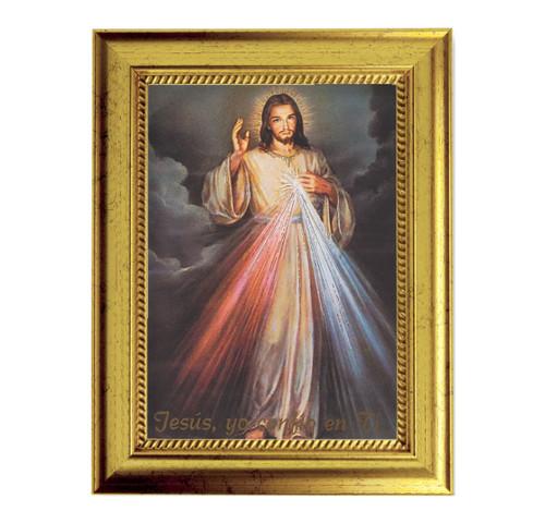 "Divine Mercy (Spanish) Gold-Leaf Framed Art | 5"" x 7"""