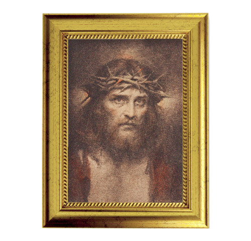 "Head of Christ Gold-Leaf Framed Art | 5"" x 7"" | Style A"