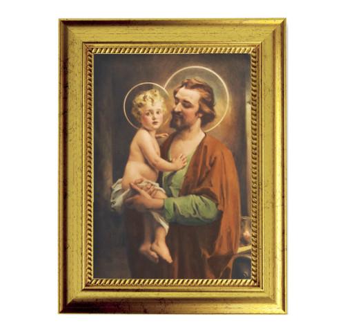 "St. Joseph with Jesus Gold-Leaf Framed Art | 5"" x 7"""