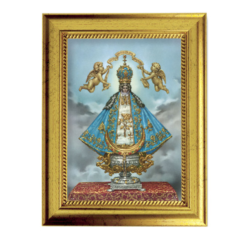 "Virgen de San Juan Gold-Leaf Framed Art | 5"" x 7"""