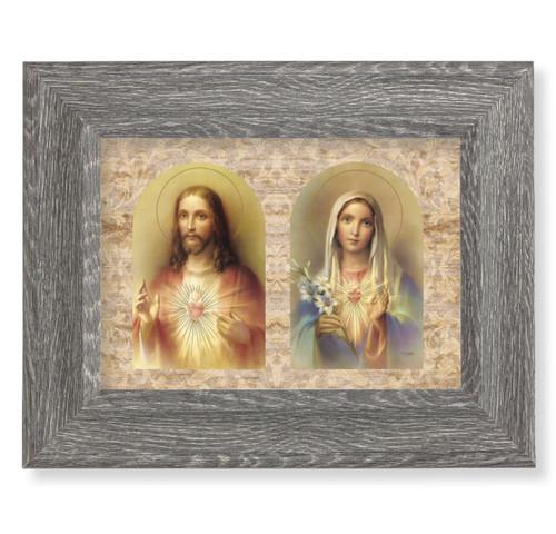 "The Sacred Hearts Dark Gray Framed Art | 5"" x 7"""