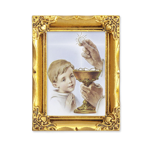 Communion Boy Square Framed Print | Antique Gold Frame | Style A