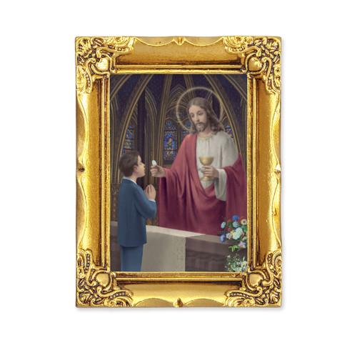Communion Boy Square Framed Print | Antique Gold Frame