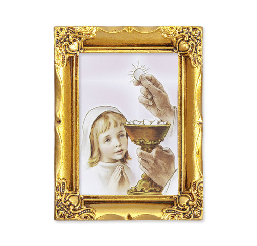 Communion Girl Square Framed Print | Antique Gold Frame | Style A